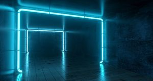 Abstract Futuristic Sci Fi Concrete Room With Different Glowing. Neon Lights And Reflections  Space For Text 3d Rendering  Illustration Royalty Free Stock Photography