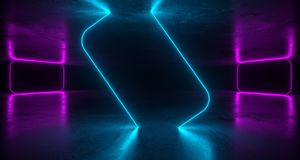 Abstract Futuristic Sci Fi Concrete Room With Different Glowing. Neon Lights And Reflections  Space For Text 3d Rendering  Illustration Royalty Free Stock Photos