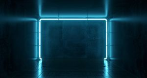 Abstract Futuristic Sci Fi Concrete Room With Different Glowing. Neon Lights And Reflections  Space For Text 3d Rendering  Illustration Royalty Free Stock Image