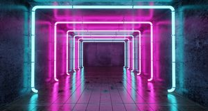 Abstract Futuristic Sci Fi Concrete Room With Different Glowing. Neon Lights And Reflections  Space For Text 3d Rendering  Illustration Stock Photo