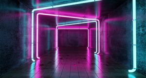 Abstract Futuristic Sci Fi Concrete Room With Different Glowing. Neon Lights And Reflections  Space For Text 3d Rendering  Illustration Stock Images