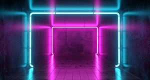 Abstract Futuristic Sci Fi Concrete Room With Different Glowing. Neon Lights And Reflections  Space For Text 3d Rendering  Illustration Stock Image