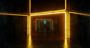 Abstract Futuristic Sci Fi Concrete Room With Orange Glowing Neo. N Lights And Reflections  Space For Text 3d Rendering  Illustration Stock Images