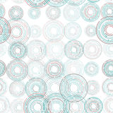 Abstract futuristic seamless pattern, blue circles on white background. Vector Royalty Free Stock Photography