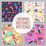 Abstract Futuristic Seamless Patterns Set. Geometric Shapes with Golden Elements Background. Vintage Hipster Fashion. 80s-90s Design. Vector illustration Royalty Free Stock Image