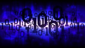 Abstract futuristic shining cyberspace with binary code, matrix blue background with digital code, cloud of big data stock illustration