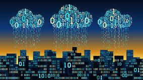 Abstract futuristic smart city with the artificial intelligence connected to cloud storage, binary rain data stream, big data
