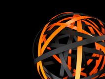 Abstract futuristic sphere with black and orange rings. Abstract 3d rendering of sphere with rings in empty space. Futuristic shape. Surreal background vector illustration