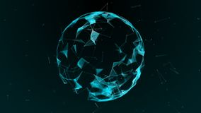 The effect of the plexus. Abstract futuristic sphere on a dark background. vector illustration