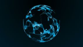 The effect of the plexus. Abstract futuristic sphere on a dark background. stock illustration