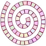 Abstract futuristic spiral maze, pattern template for children`s games, purple lilac mauve squares isolated on white background.