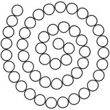 Abstract futuristic spiral maze, pattern template for children`s games, white Circles Black contour isolated on white background.