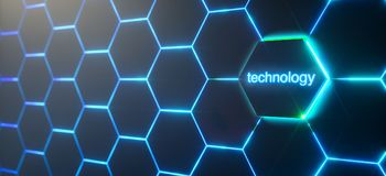 Abstract futuristic surface hexagon pattern with light rays. Technology buttoncontext, 3D Rendering stock illustration