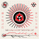 Abstract Futuristic Techno Alien Logo Symbols. HUD Icons  Set. Vector Flat Design Head's Up Display Infographics Elements in Red White and Black Colrs. Abstract Stock Photos