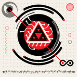 Abstract Futuristic Techno Alien Logo Symbols. HUD Icons  Set. Vector Flat Design Head's Up Display Infographics Elements Set in Red White and Black Colrs Royalty Free Stock Photography