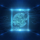 Abstract futuristic technological background with various technological elements, vector Stock Photography