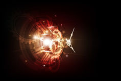 Abstract Futuristic Technology Background with Clock concept and Time Machine, vector Stock Images