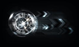 Abstract Futuristic Technology Background with Clock concept and Time Machine, vector illustration. Eps10 Royalty Free Stock Photos