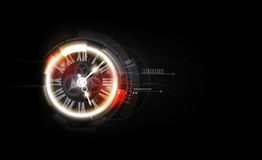 Abstract Futuristic Technology Background with Clock concept and Time Machine, vector illustration Royalty Free Stock Image