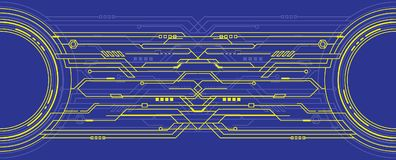 Abstract futuristic technology on blue background. Abstract futuristic high computer technology. on blue color background. Vector illustration
