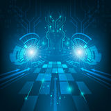 Abstract  futuristic technology circuit board dark blue background. Stock Images