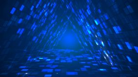 Abstract futuristic triangle data tunnel perspective background. Abstract futuristic triangle data tunnel blue background. Information technology graphic