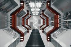 Abstract futuristic tunnel. Interior. 3D Rendering vector illustration