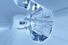 Abstract Futuristic tunnel like spaceship corridor blue metal in white space. 3d illustration Royalty Free Stock Photo