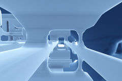 Abstract Futuristic tunnel like spaceship corridor blue metal in white space. 3d illustration.  Stock Photography