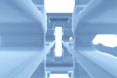 Abstract Futuristic tunnel like spaceship corridor blue metal in white space. 3d illustration.  Royalty Free Stock Images