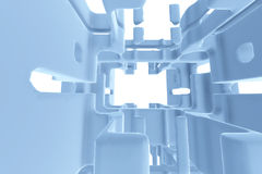 Abstract Futuristic tunnel like spaceship corridor blue metal in white space. 3d illustration Stock Image