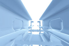 Abstract Futuristic tunnel like spaceship corridor blue metal in white space. 3d illustration Royalty Free Stock Photos