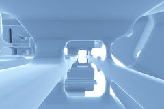 Abstract Futuristic tunnel like spaceship corridor blue metal in white space. 3d illustration Stock Photos