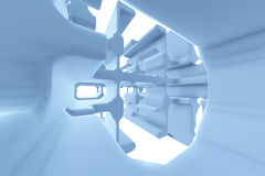 Abstract Futuristic tunnel like spaceship corridor blue metal in white space. 3d illustration.  Royalty Free Stock Photos