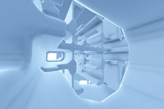 Abstract Futuristic tunnel like spaceship corridor blue metal in white space. 3d illustration.  Royalty Free Stock Image