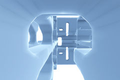 Abstract Futuristic tunnel like spaceship corridor blue metal in white space. 3d illustration Royalty Free Stock Image
