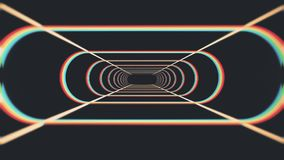Endless neon rib lights abstract cyber tunnel flight motion graphics animation background seamless loop new quality. Abstract futuristic tunnel with space for stock footage