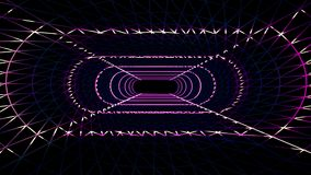 Endless neon lights grid net cyber retro tunnel flight motion graphics animation background seamless loop new quality. Abstract futuristic tunnel with space for stock video