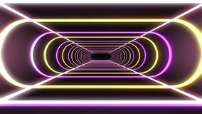 Endless neon rib lights abstract cyber tunnel flight motion graphics animation background seamless loop new quality. Abstract futuristic tunnel with space for stock video footage