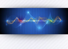 Abstract futuristic - wave with striped line label on dark blue background Royalty Free Stock Image