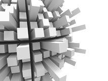 Abstract futuristic white cubes background. 3d render illustration Stock Photos