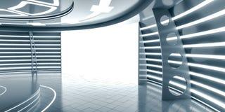 Abstract futuristisch binnenland met gloeiend paneel Royalty-vrije Stock Afbeeldingen