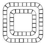 Abstract futuristisch labyrint, patroonmalplaatje voor kinderen` s spelen, witte vierkanten Zwarte die contour op witte achtergro stock illustratie