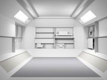 Abstract Futuristisch licht ruimte binnenlands ontwerp het 3d teruggeven Fu Royalty-vrije Stock Fotografie