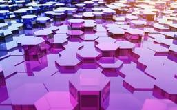 Abstract futuristisch oppervlakte hexagon patroon met lichte stralen Royalty-vrije Stock Afbeeldingen