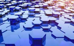 Abstract futuristisch oppervlakte hexagon patroon met lichte stralen Stock Afbeeldingen