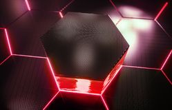 Abstract futuristisch oppervlakte hexagon patroon met lichte stralen Royalty-vrije Stock Afbeelding