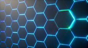 Abstract futuristisch oppervlakte hexagon patroon met lichte stralen royalty-vrije illustratie