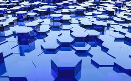 Abstract futuristisch oppervlakte hexagon patroon met lichte stralen Stock Fotografie