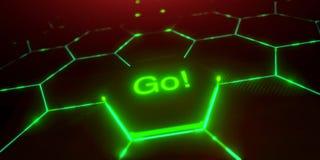 Abstract futuristisch oppervlakte hexagon patroon met lichte stralen Stock Foto